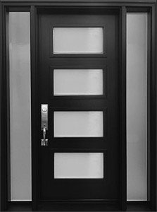 4-lite mid-century modern black entrance door