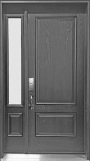 Fiberglass door and sidelite Sandblasted