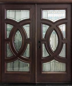 Double Mahogany Entry Door Triple Glazed Patina