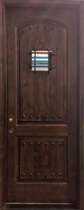 Medieval Style Knotty Alder Entry Door with Speakeasy Window