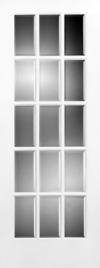 French Door 15-Lite Wood Grill Beveled Glass