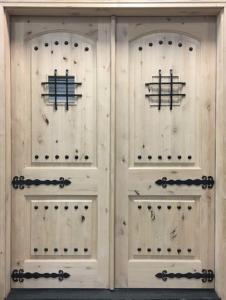 """Medieval Gate"" Wooden Double Door Knotty Alder"