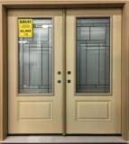 Fiberglass double entry door with Oak Hill Glass