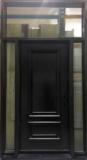 door with two sidelites and transom frosted