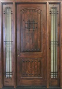Knotty Alder front door with wrought iron