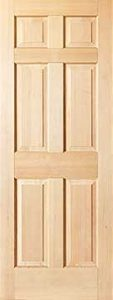 6 panel colonial interior door maple
