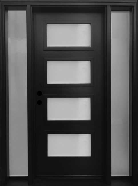 mid century modern front entry door frosted glass