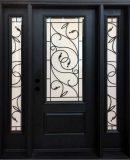 wrought iron fiberglass front entry door and sidelites