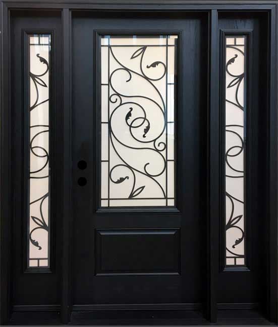 wrought iron fiberglass front entry door and sidelites