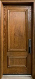 Fiberglass front door with factory stained woodgrain finish